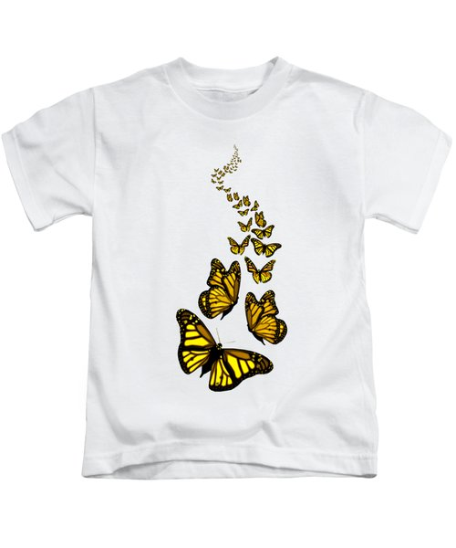 Trail Of The Yellow Butterflies Transparent Background Kids T-Shirt