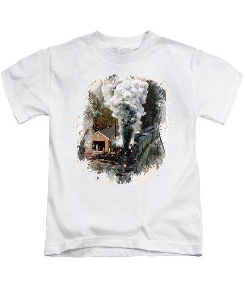 Train Days Kids T-Shirt by Florentina Maria Popescu
