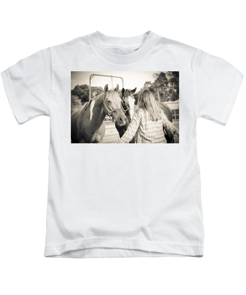 Training The Horses In Sepia Kids T-Shirt