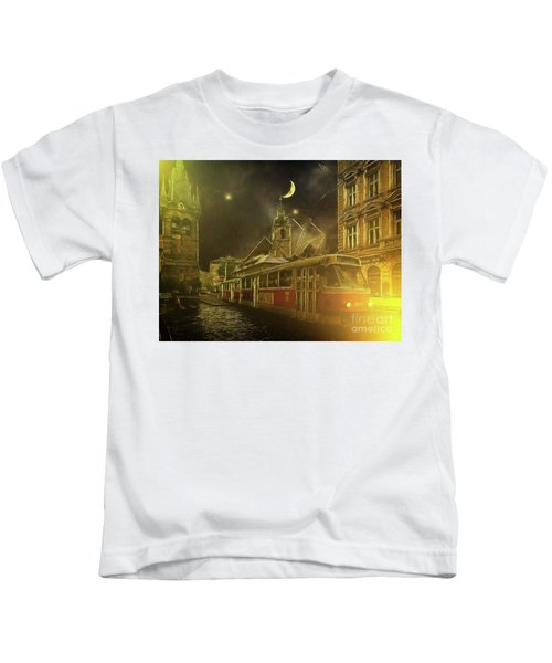 Tramatic - Prague Street Scene Kids T-Shirt