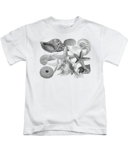 Treasures Of The Deep In Mono On White Kids T-Shirt