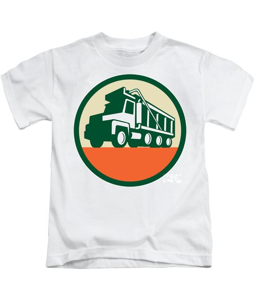 Triple Axle Dump Trunk Low Angle Circle Retro Kids T-Shirt