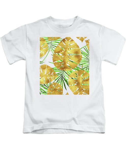 Tropical Haze II Gold Monstera Leaves And Green Palm Fronds Kids T-Shirt