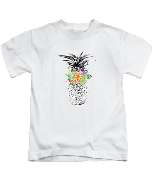 Tropical Pineapple Flowers Aqua Kids T-Shirt by Dushi Designs