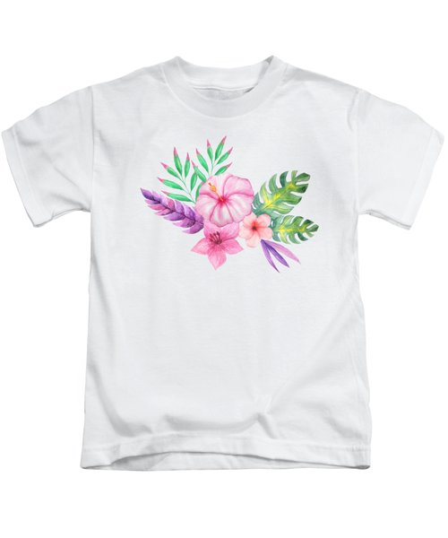 Tropical Watercolor Bouquet 1 Kids T-Shirt