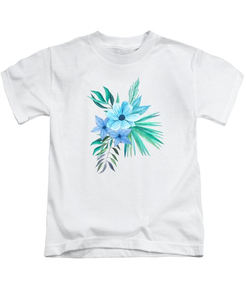 Tropical Watercolor Bouquet 10 Kids T-Shirt
