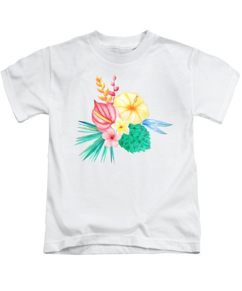 Tropical Watercolor Bouquet 2 Kids T-Shirt
