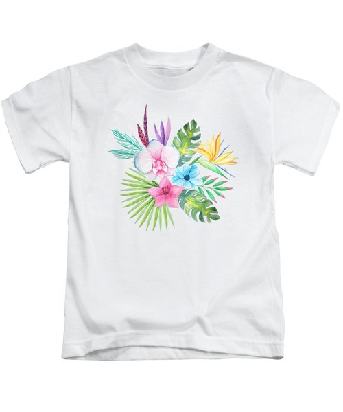 Tropical Watercolor Bouquet 3 Kids T-Shirt