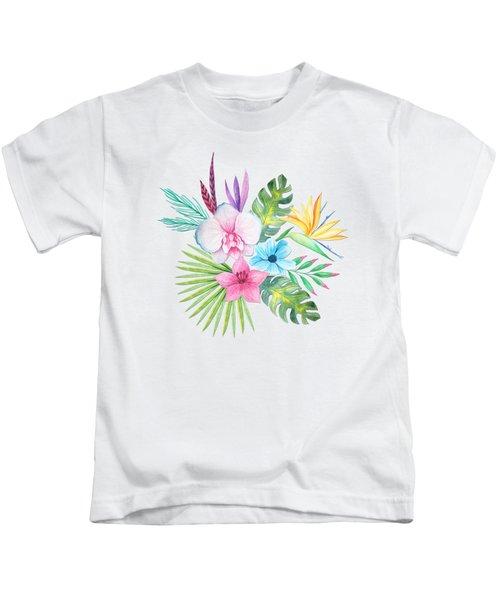 Tropical Watercolor Bouquet 3 Kids T-Shirt