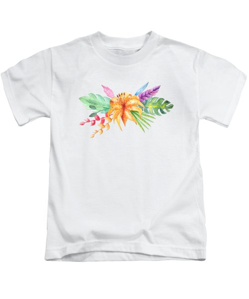 Tropical Watercolor Bouquet 4 Kids T-Shirt