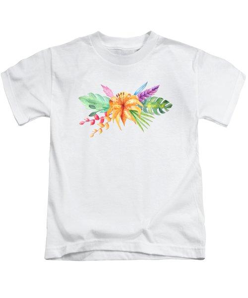 Tropical Watercolor Bouquet 4 Kids T-Shirt