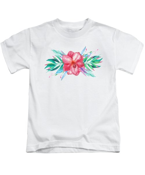 Tropical Watercolor Bouquet 5 Kids T-Shirt