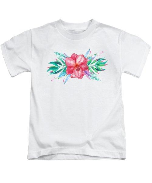 Tropical Watercolor Bouquet 5 Kids T-Shirt