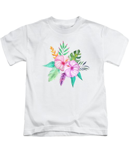 Tropical Watercolor Bouquet 78 Kids T-Shirt