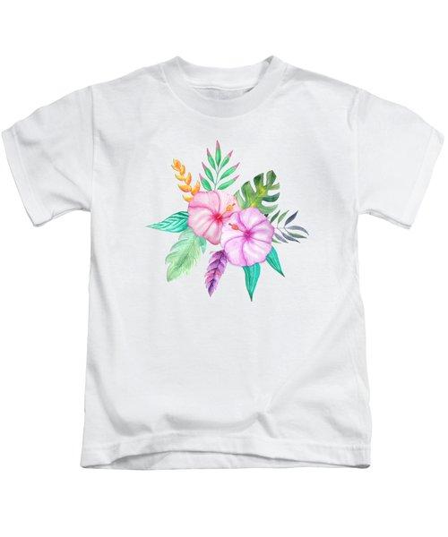 Tropical Watercolor Bouquet 78 Kids T-Shirt