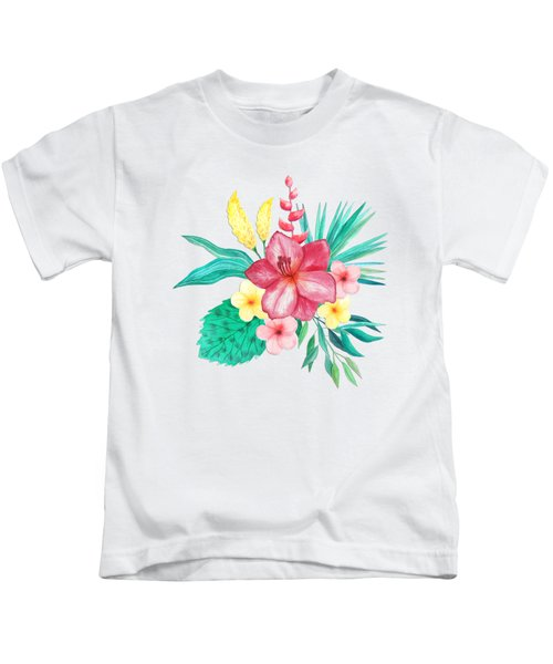 Tropical Watercolor Bouquet 9 Kids T-Shirt