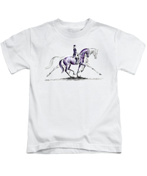 Trot On - Dressage Horse Print Color Tinted Kids T-Shirt