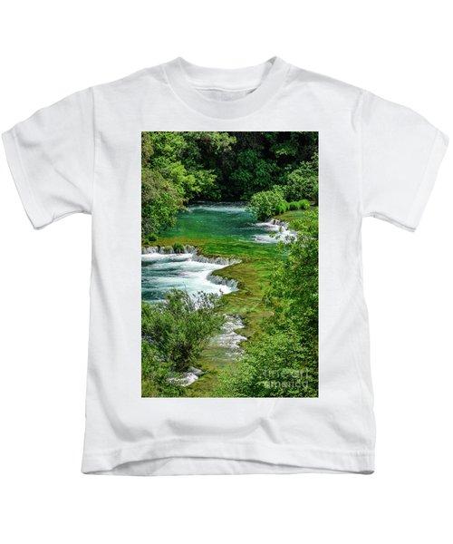 Turqouise Waterfalls Of Skradinski Buk At Krka National Park In Croatia Kids T-Shirt