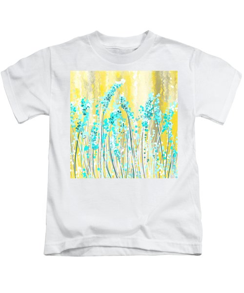 Turquoise And Yellow Kids T-Shirt