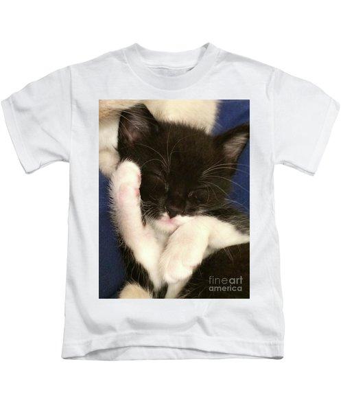 Tuxedo Kitten Snoozing Kids T-Shirt