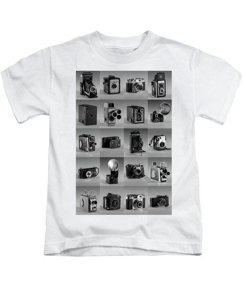 Twenty Old Cameras - Black And White Kids T-Shirt