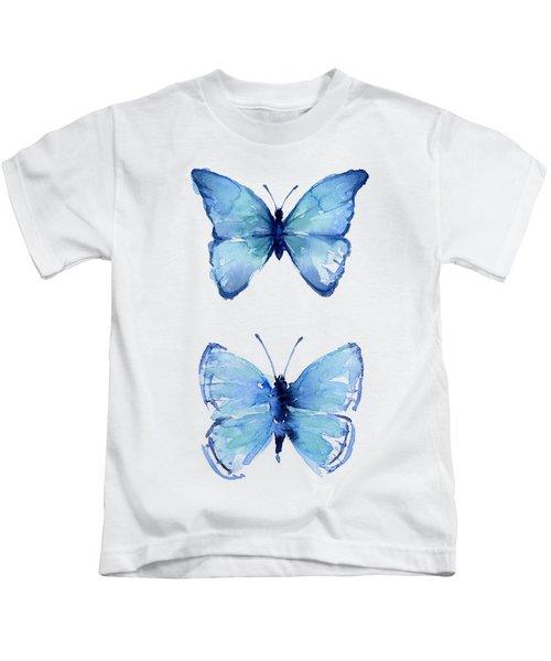 Two Blue Butterflies Watercolor Kids T-Shirt