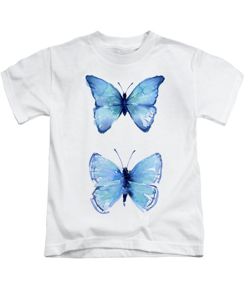 Two Blue Butterflies Watercolor Kids T-Shirt