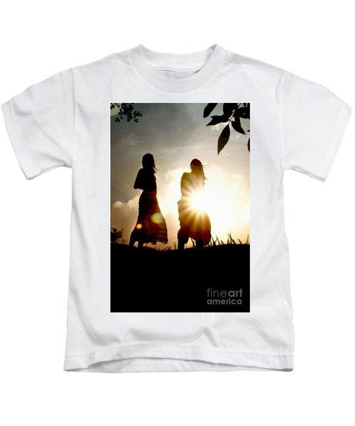 Two Girls And Sunburst Kids T-Shirt