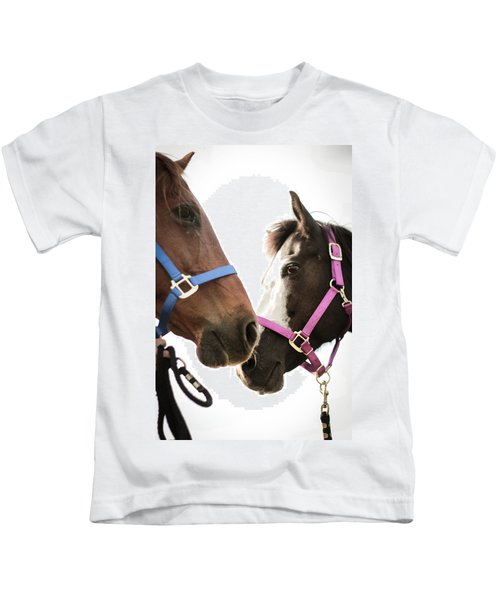 Two Horses Nose To Nose In Color Kids T-Shirt