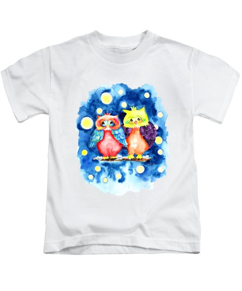 Two Owls And A Starry Night Kids T-Shirt