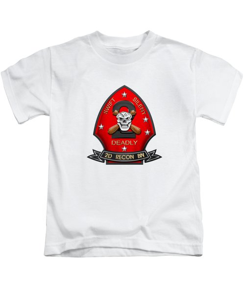 U S M C  2nd Reconnaissance Battalion -  2nd Recon Bn Insignia Over White Leather Kids T-Shirt