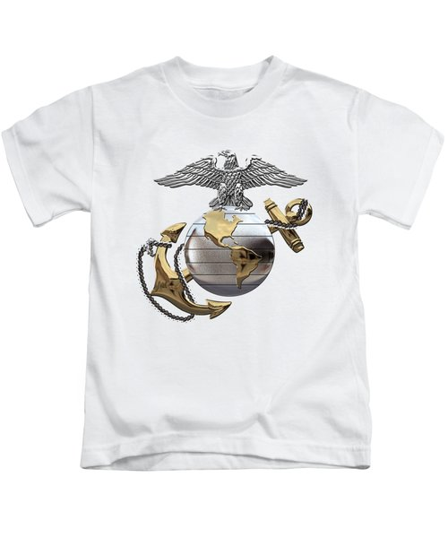 U S M C Eagle Globe And Anchor - C O And Warrant Officer E G A Over White Leather Kids T-Shirt