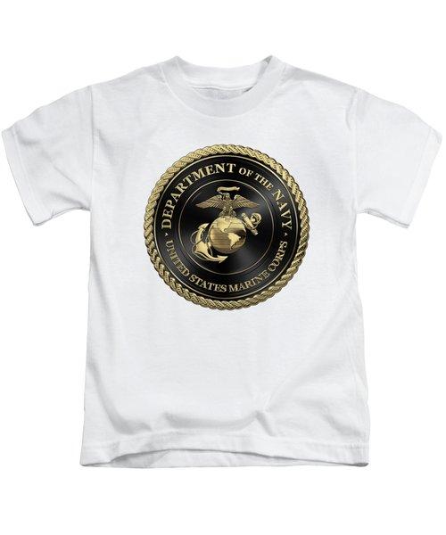 U S M C Emblem Black Edition Over White Leather Kids T-Shirt