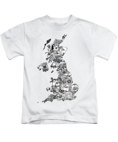 Uk Map Kids T-Shirt by Hannah Edge