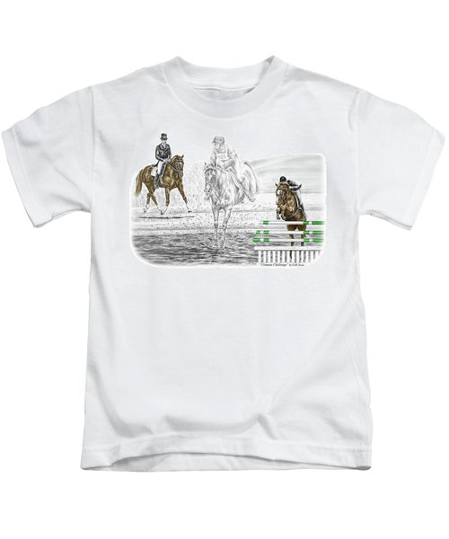 Ultimate Challenge - Horse Eventing Print Color Tinted Kids T-Shirt