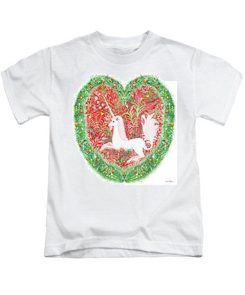 Unicorn Heart With Millefleurs Kids T-Shirt