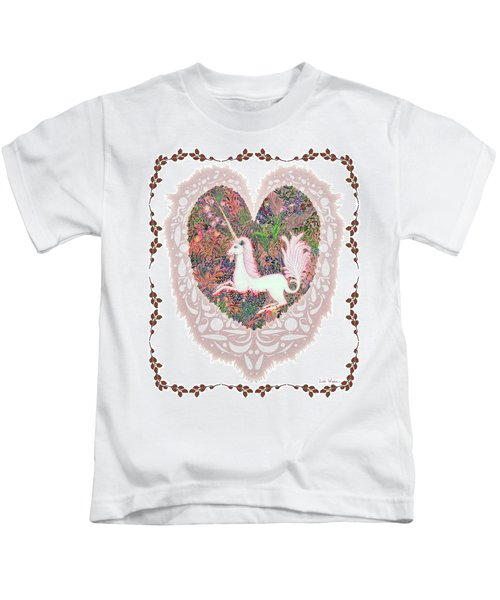 Unicorn In A Pink Heart Kids T-Shirt