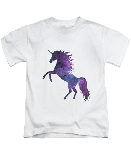 Unicorn In Space-transparent Background Kids T-Shirt by Jacob Kuch