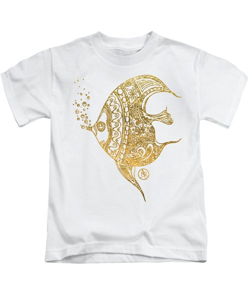 Unique Golden Tropical Fish Art Drawing By Megan Duncanson Kids T-Shirt