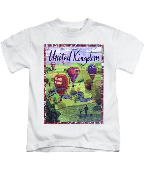 United Kingdom, Hot Air Balloons, Travel Poster Kids T-Shirt