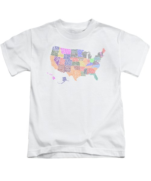 United States Musicians Map Kids T-Shirt by Trudy Clementine