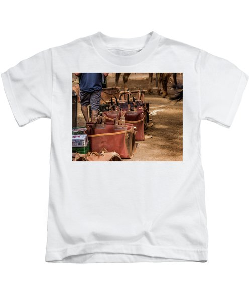 Unloading Mules At Phantom Ranch Kids T-Shirt