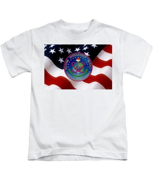 U. S. Defense Intelligence Agency - D I A Emblem Over Flag Kids T-Shirt