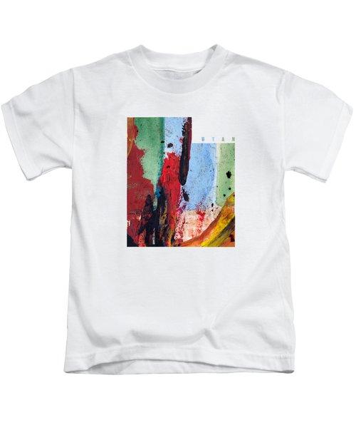 Utah Map Art - Painted Map Of Utah Kids T-Shirt