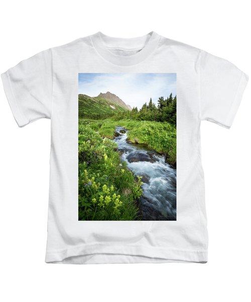 Verdant Mountain Stream Kids T-Shirt