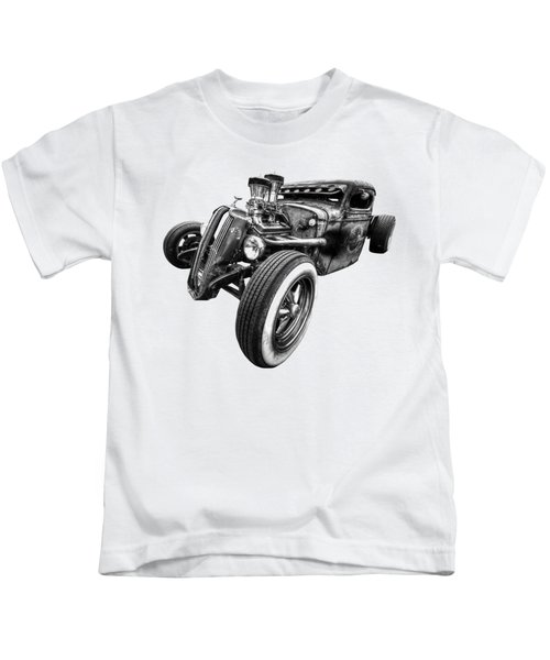 Vermin's Diner Rat Rod Front In Black And White Kids T-Shirt