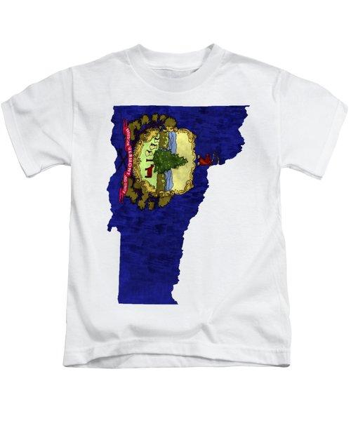Vermont Map Art With Flag Design Kids T-Shirt