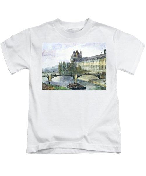 View Of The Pavillon De Flore Of The Louvre Kids T-Shirt by Francois-Marius Granet