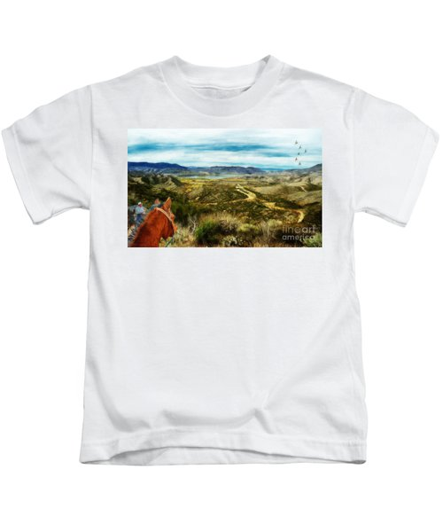 View Of Vail Lake On Horseback Kids T-Shirt