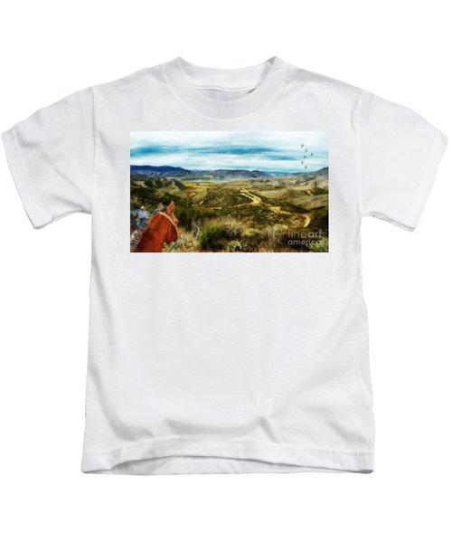View Of Vail Lake On Horseback Kids T-Shirt